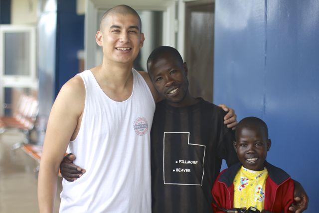 Volunteer and cardiac patient sharing time in Rwanda