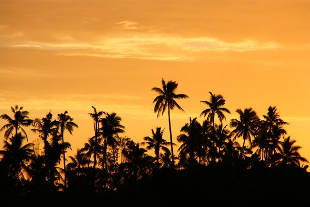 Sunsets in Tonga with an orange sky