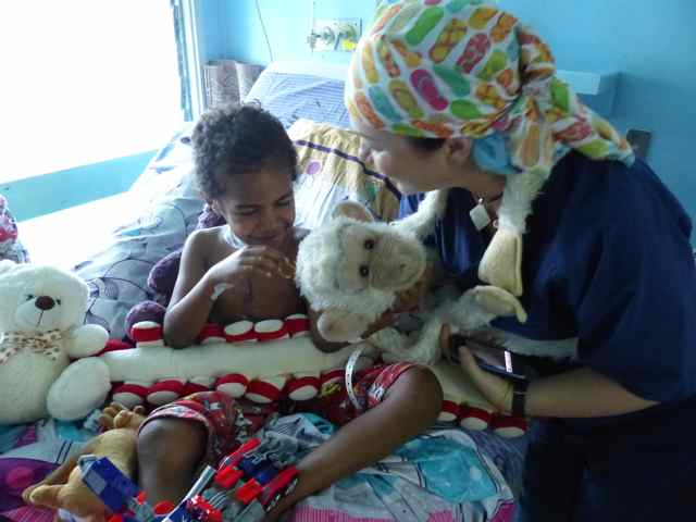 Monkey playing on the ward