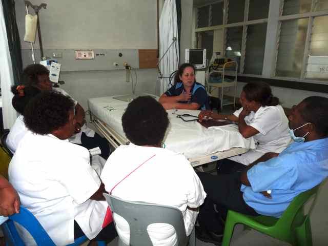 Wendy teaching in the general ICU