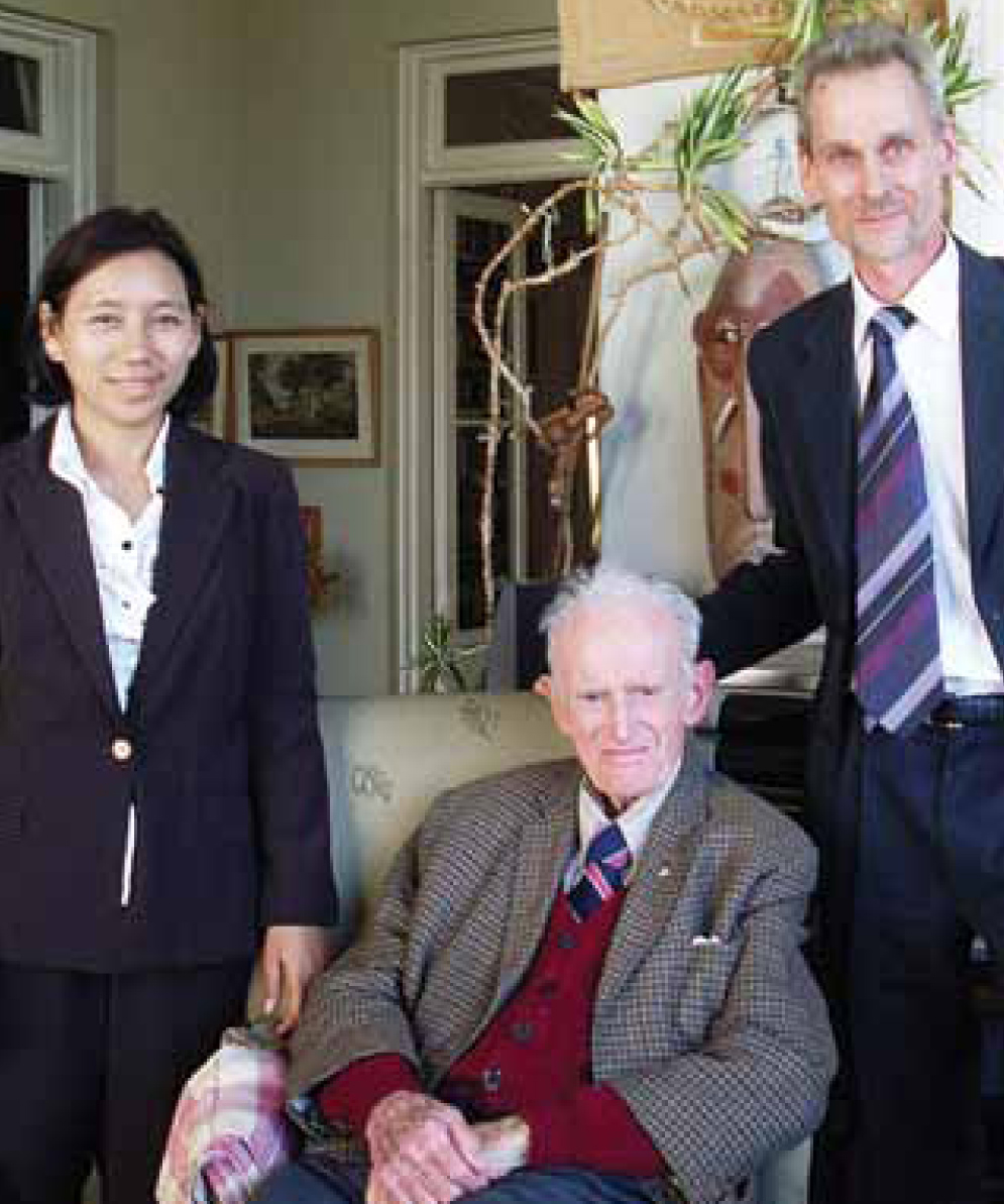 Image of a young Dr Kyaw, Professor French and Dr Rowan Nicks
